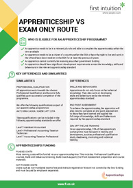 Apprenticeship vs Exam Only Route Factsheet Thumbnail